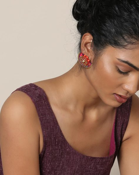 Handcrafted Stud Earrings With Beads And Thread By Anetra ( Multi ) - 460117266001