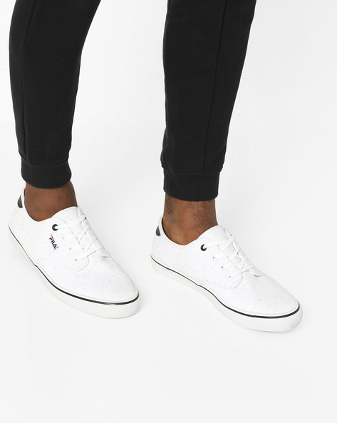 Lace-Up Casual Shoes With Speckle Effect By FILA ( White )