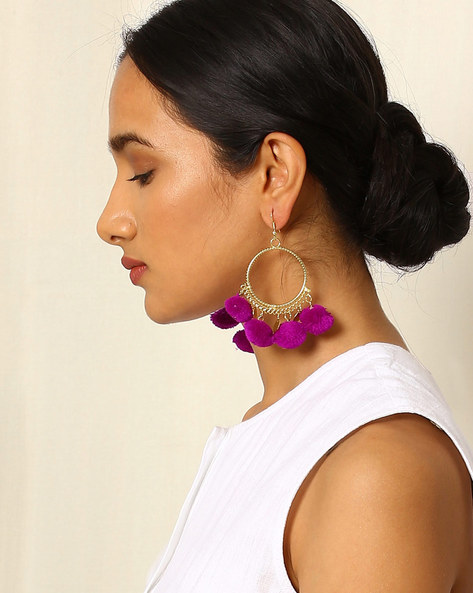 Brass Hoop Earrings With Pom-poms By Indie Picks ( Purple )