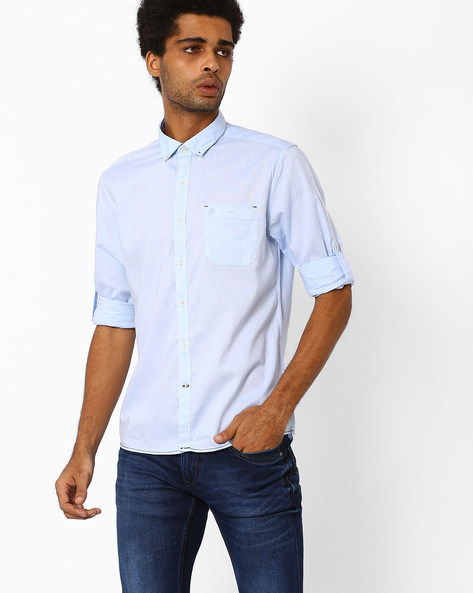 Shirt With Roll-Tab Sleeves By NETPLAY ( Blue )