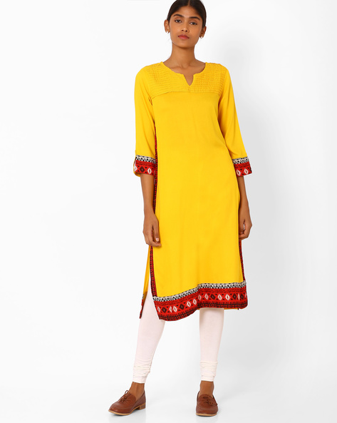 Straight Kurta With Roll-Up Sleeve Tabs By AVAASA MIX N' MATCH ( Yellow )
