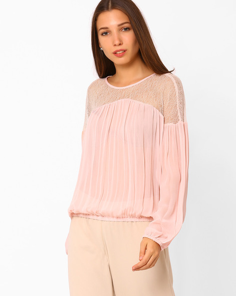 Pleated Top With Lace Yoke By Rena Love ( Pink )