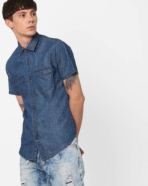 Splatter Print Slim Fit Shirt By AJIO ( Blue ) - 460042113005