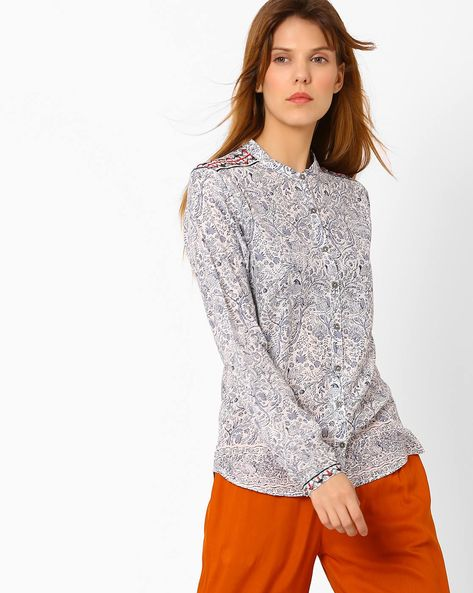 Printed Shirt With Band Collar By Pepe Jeans ( Offwhite )