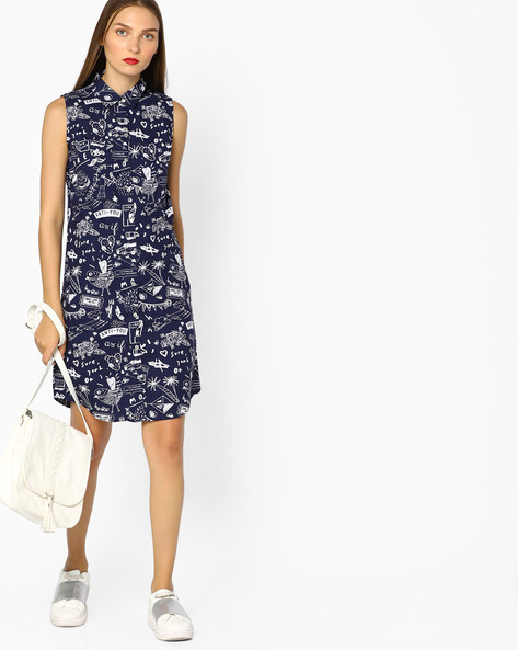 Printed Sleeveless Shirt Dress By AJIO ( Navyblue )