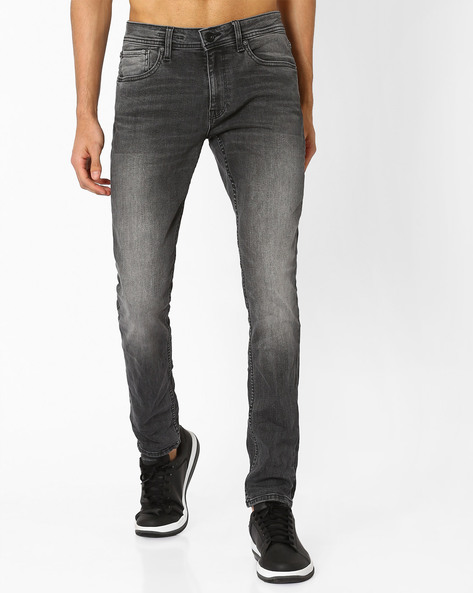 Lightly Washed Slim Jeans By VOI JEANS ( Grey ) - 460048349003