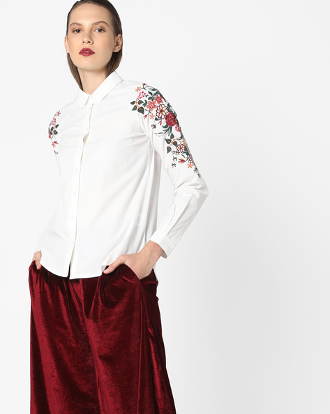 Shirt With Floral Embroidery By AJIO ( White )