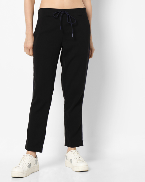 Ankle-Length Pants With Contrast Side Panels By Project Eve WW Athleisure ( Black )