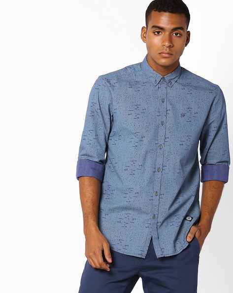 Printed Slim Fit Shirt With Button-Down Collar By Lee ( Navyblue )