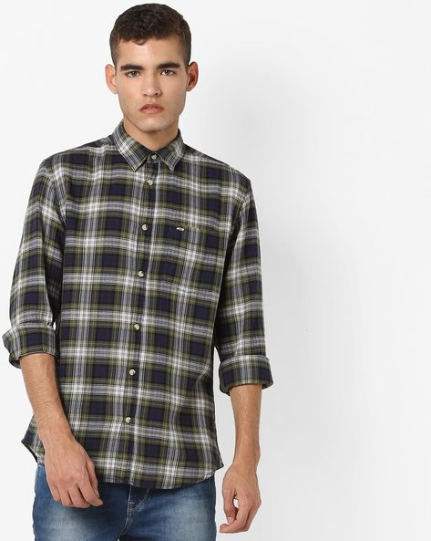Checked Shirt With Patch Pocket By Jack & Jones ( Green )