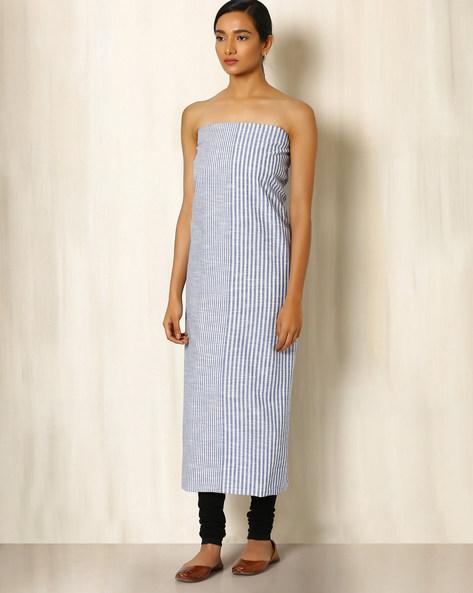 South Cotton Striped Kurta Fabric By Indie Picks ( Grey )