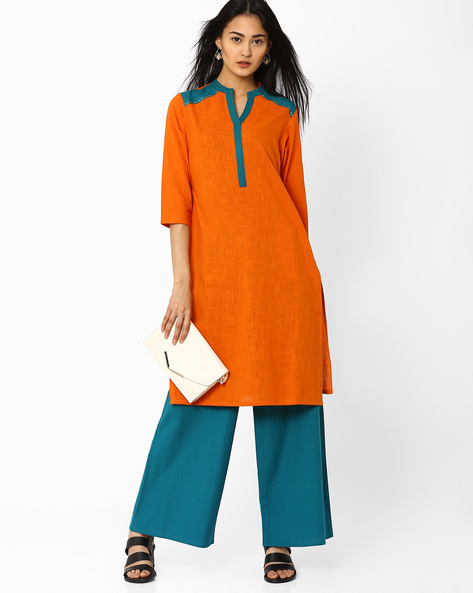 Kurta With Shoulder Panels By AJIO ( Rust )