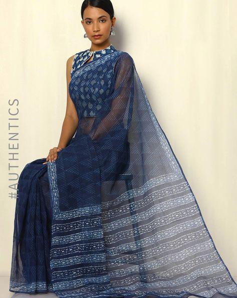 Dabu Handblock Print Indigo Pure Silk Kota Saree By SWADESH ( Blue )