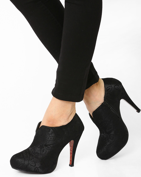 Textured Heeled Shoes By MFT Couture ( Black )