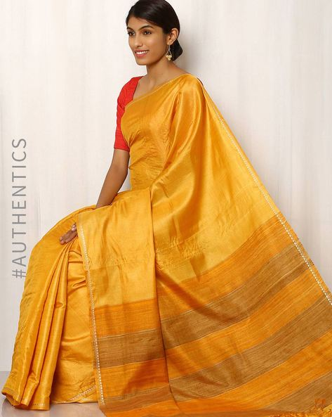 Handwoven Pure Tussar Ghicha Silk Saree By Indie Picks ( Yellow )