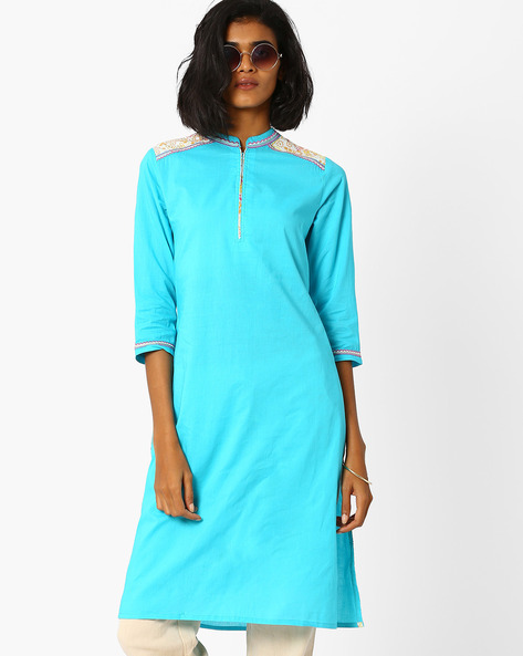 Straight Kurta With Contrast Detail By AJIO ( Turquoise )
