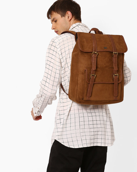 Suede Backpack With Buckle Closure By Atorse ( Tan )