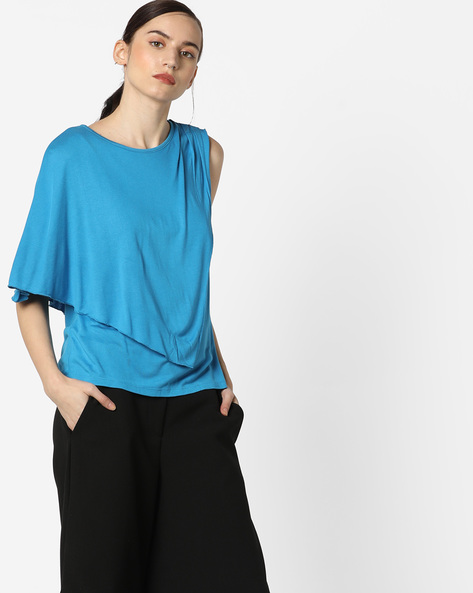 Overlay Top With Asymmetrical Sleeves By AJIO ( Teal )