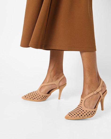 Stilettos With Laser-Cut Detail By AJIO ( Beige )