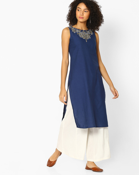 High-Low Sleeveless Kurta With Embroidery By AVAASA MIX N' MATCH ( Navy )