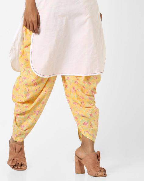 Floral Print Patiala Pants By AJIO ( Yellow )