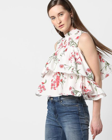High-Neck Floral Print Tiered Top By AJIO ( White )