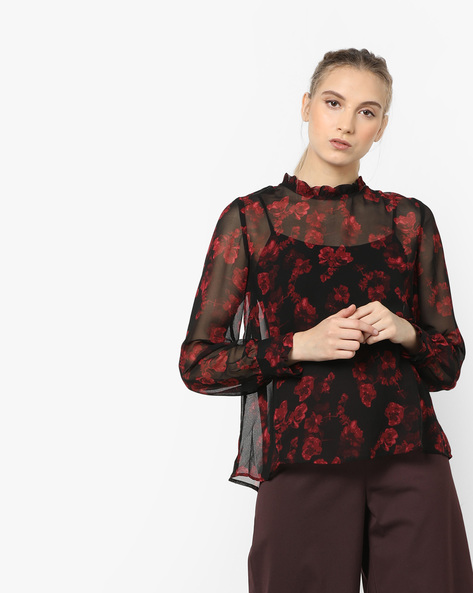 Floral Printed Sheer Top By CODE By Lifestyle ( Black )