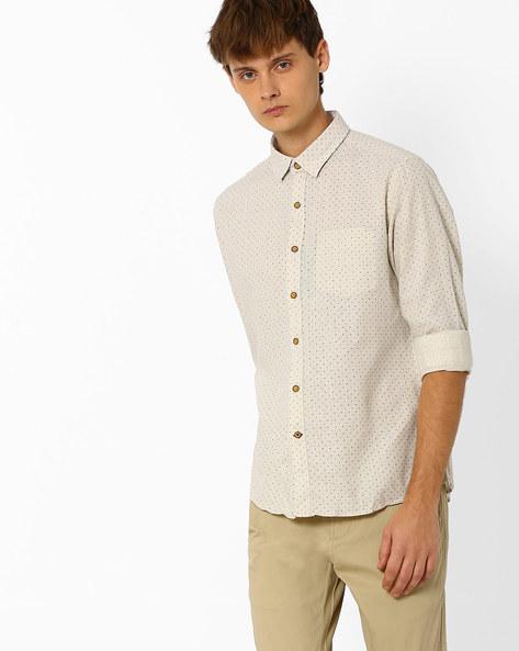 Printed Slim Fit Shirt By NETPLAY ( Khaki )