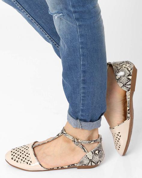 T-Strap Flat Shoes By AJIO ( Beige )