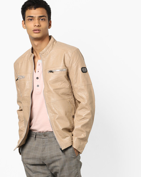 Slim Fit Biker Jacket With Mandarin Collar By The Indian Garage Co ( Khaki )