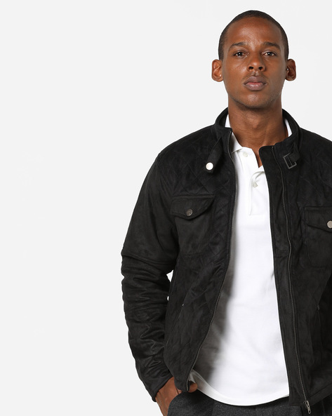 Quilted Biker Jacket With Flap Pockets By AJIO ( Black )