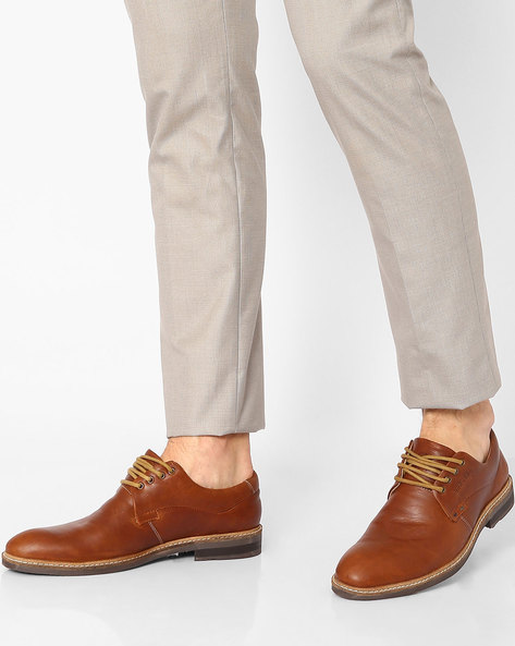 Leather Shoes With Lace-Ups By BUCKAROO ( Brown )