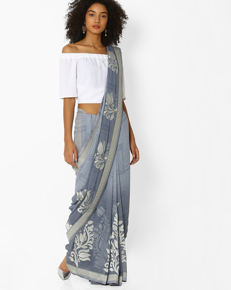 Printed Saree With Embroidery By Arissa ( Grey )