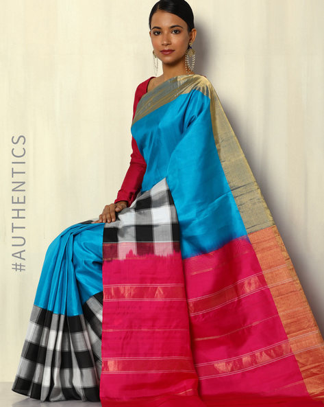 Handloom Arani Skirt Checked Pure Silk Saree By Pretty Woman ( Blue )