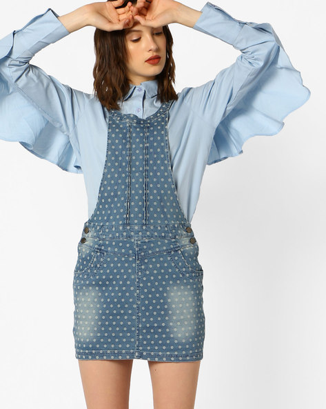 Polka-Dot Print Dungaree Dress By Ginger By Lifestyle ( Blue )