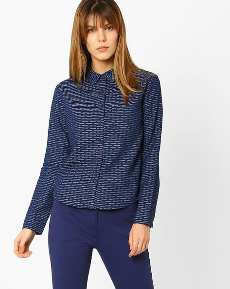 Printed Cotton Shirt By WRANGLER ( Blue )