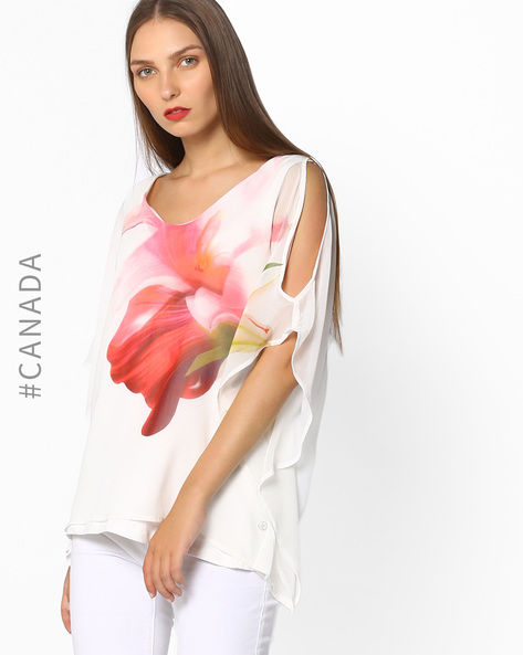 Floral Print Top With Cold-Shoulder Sleeves By Point Zero ( White )