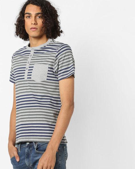 Striped Henley T-shirt With Patch Pocket By AJIO ( Grey )