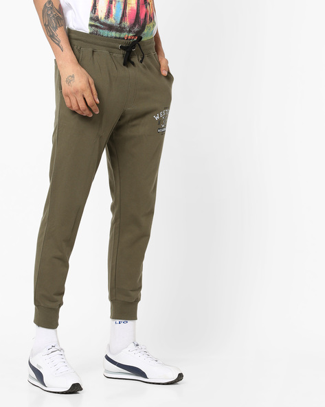 Mid-Rise Track Pants With Drawstring Waist By AJIO ( Olive )