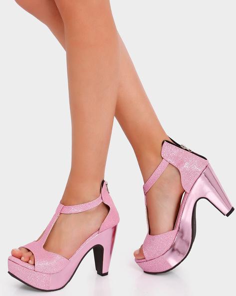 Platform Heels With Zip Closure By Get Glamr ( Pink )