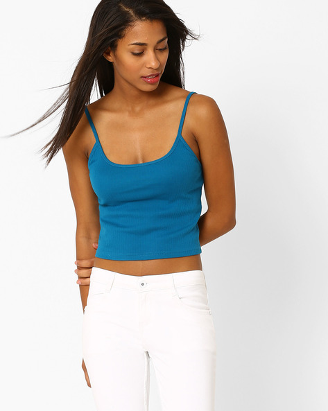 Cropped Cotton Camisole By Only ( Blue )