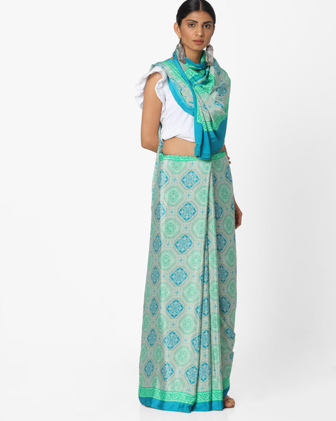 Printed Saree With Contrast Border By Majestic Silk ( Blue )