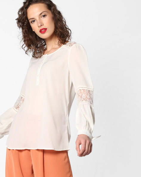 Top With Floral Lace By PE WW Casual ( Offwhite )