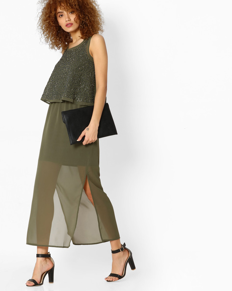 Popover Maxi Dress With Sheer Skirt By CODE By Lifestyle ( Olive )