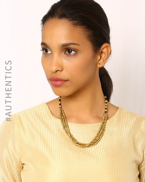 Handcrafted Dhokra Brass Necklace By Indie Picks ( Turquoise )