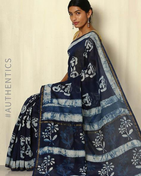 Handblock Print Indigo Chanderi Saree With Zari Border By Indie Picks ( Indigo ) - 460053729001