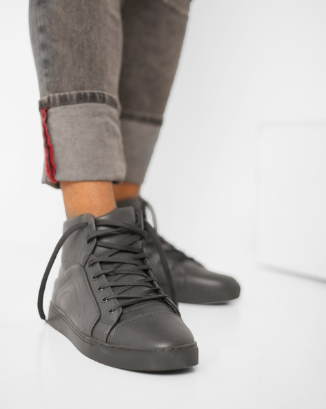 Panelled High-Top Lace-Up Sneakers By AJIO ( Grey )