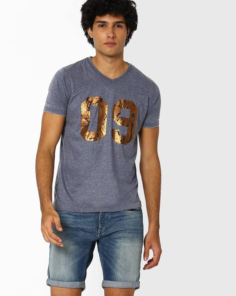 V-neck T-shirt With Foil Print By Garcon ( Navyblue )