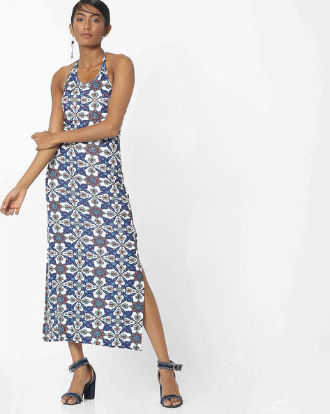 Halter-Neck Printed Maxi Dress By COLOUR ME ( Blue )