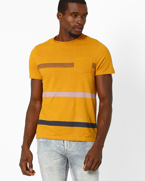Crew-Neck T-shirt With Patch Pocket By AJIO ( Mustard )